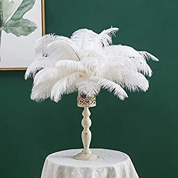 16-18 inches  40~45cm  Real Natural Ostrich Feathers White,Great Home Party Wedding Decoration for Christmas New Year  10