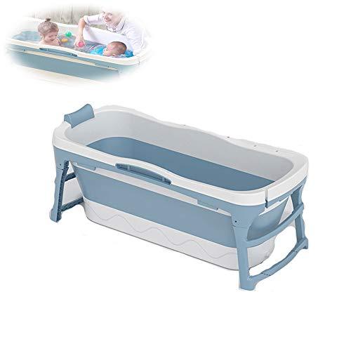 TWW Barril De Baño Barril De Baño Plegable para Adultos Barril De Baño Doméstico para Adultos Barril De Baño Grande Bañera Humeante Bañera para Niños,Azul