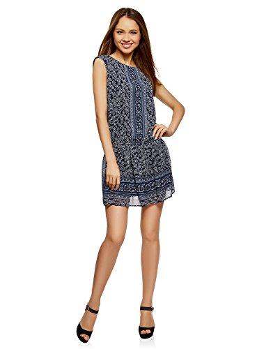 oodji Ultra Mujer Vestido Estampado de Gasa, Azul, ES 36 / XS