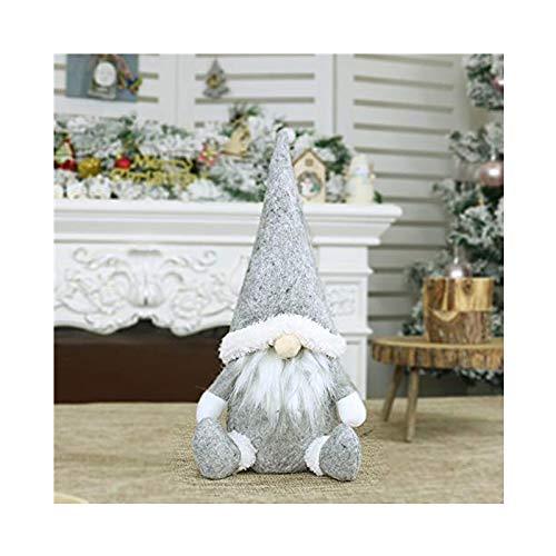 FIRSS-Deko Weihnachten Puppe Mini Handgemachte Schwedische Wichtel Santa Dolls süße wichtel Kinder Geschenke Figur Plüschtier Stehende Weihnachtsfigur Urlaub Weihnachtsdekoration (Grau, 31 x 16cm)