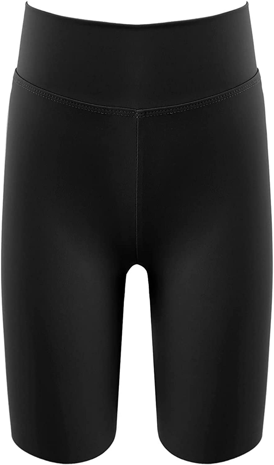 dPois Girls Pure Color High Waist Stretchy Five Cents Shorts Athletic Fitness Workout Sport Stage Performance Hot Pants