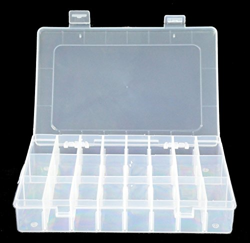 Ruikey Organisationskasten aus Kunststoff, mit verstellbaren Trennwänden, 24 Fächer, Transparent , plastik, 24 Grilles, 19.5*13*3.5cm