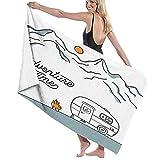 NANITHG Toalla de Playa,Ilustración con una Caravana Retro en el Fondo de Las montañas,Toallas de Baño Toallas de Acampada Piscina Natación Playa Toallas de Mano Ducha Toallas de Mano