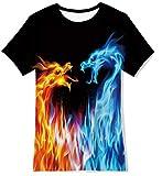 Belovecol Camiseta para Adolescentes 13-14 años 3D Dragon Camisetas Cool Summer Camisetas de Manga Corta para niños niñas