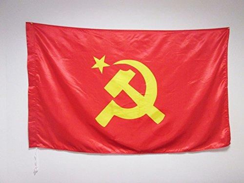 AZ FLAG Flagge SOWJETUNION UDSSR ZENTRALER Logo 150x90cm Satin - Kommunismus Fahne 90 x 150 cm - flaggen Top Qualität