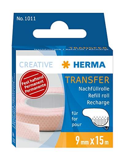 HERMA 1011 Nachfüllrolle für Kleberoller, permanent (15 m x 9 mm) selbstklebende Nachfüllkassette mit doppelseitigen Klebepunkten für Fotos, Basteln, Schule und Büro