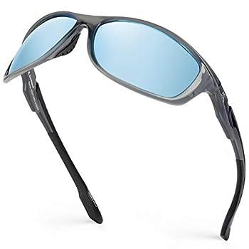 Extremus Rainier Polarized Sport Sunglasses,Gloss Crystal Frame,Smoke Base Ice Blue Mirror