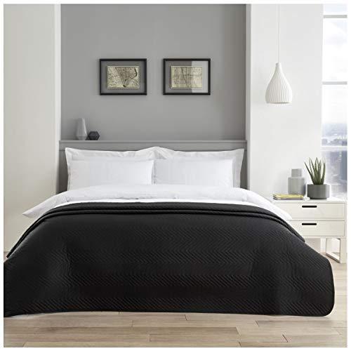 GC GAVENO CAVAILIA Premium-Qualität Pinsonic Tagesdecke, Überwurf, Leicht zu pflegen, Luxus, Gesteppt, Großes Sofa, Bettdecke, Schwarzes Zickzackmuster, Doppelbett (150 x 200 cm), Polyester