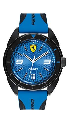 Ferrari'Forza' - Reloj casual de cuarzo, plástico y silicona para hombre, color: azul (modelo: 0830518)
