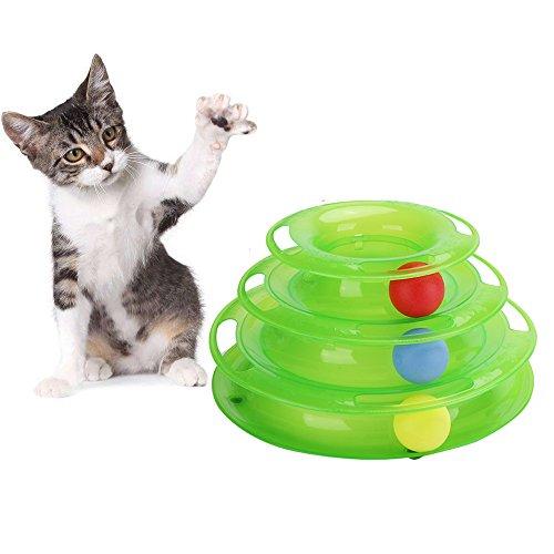 Petilleur Jouet pour Chat Interactif Jeux de Rotation pour Chat avec Balle à 3 Niveaux (3 Niveaux - Vert)