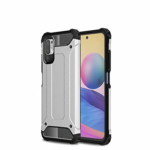 JIAFEI Funda Compatible con Xiaomi Redmi Note 10 5G / Poco M3 Pro, Doble Capa Híbrida Armour Antigolpes Rugged Durable Phone Case Funda Protectora, Plata