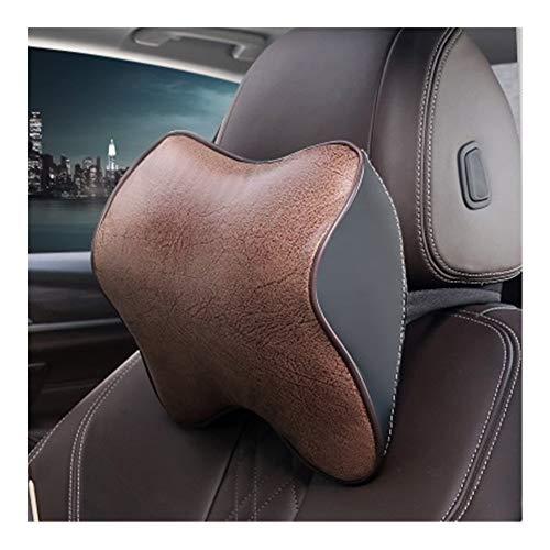 Reposacabezas Coche Cabeza del coche de la almohadilla del cuello de piel de Auto Protección resto del cuello Almohada Auto soportes de asiento del amortiguador de la cintura de espuma viscoelástica R