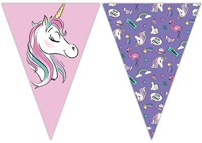 ILS I LOVE SHOPPING Festone bandierine a Triangolo 230cm in plastica Buon Compleanno Ghirlanda Snodabile Happy Birthday Multicolore (Minnie Unicorno, Bandierine Festone)