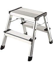 1PLUS Aluminium opstap/ladder Opklapbare opstap 2 x 2 treden, draagvermogen tot 150 kg, hoogte: ca. 40 cm