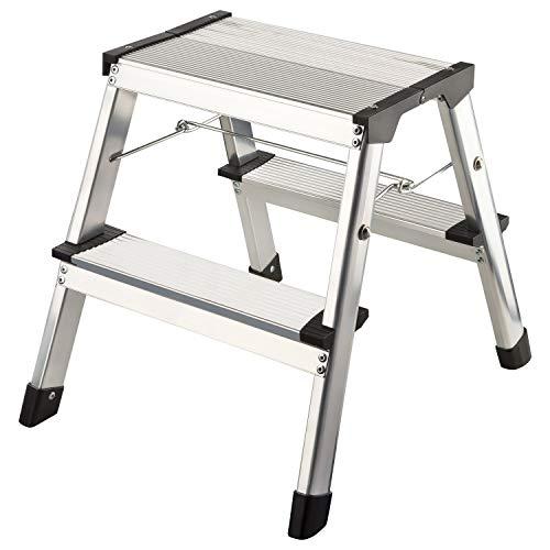 1PLUS Aluminium Tritthocker Tritt Leiter Trittleiter Klapptritt bis 150 kg belastbar (2 x 2 Stufen)