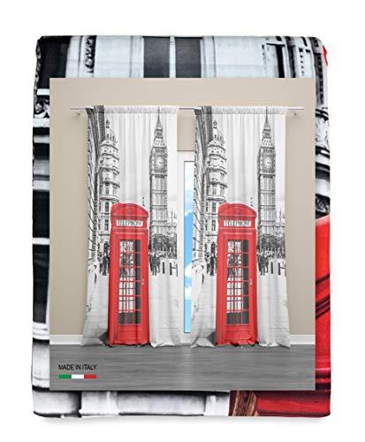 Tex family Vorhang London, Englisch, Telefon, 160 x 300 cm, hergestellt in Italien, Leinenmischung