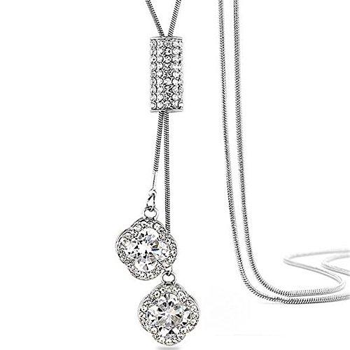 Z-Jeris Women's Crystal Flower Jewelry Tassel Pendant Long Chain Necklace (Silver)