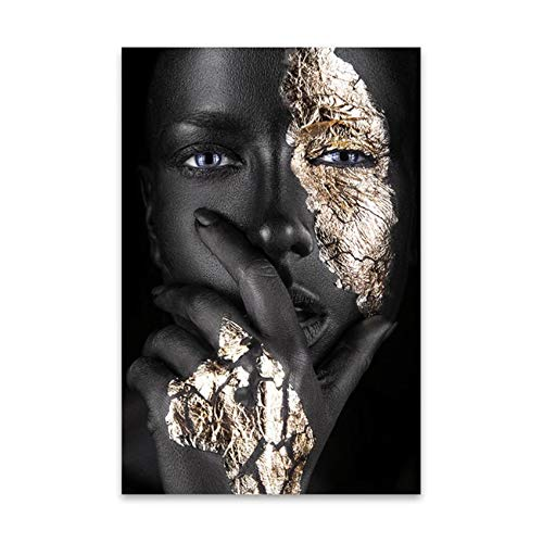 nobrand Druck auf Leinwand Afrikanische Kunst Schwarz und Gold Frau Malerei Leinwand Poster Wandkunst Bild für Wohnzimmer Dekor 80x120cm (31,5x47.2 Zoll) Kein Rahmen