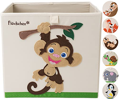 Flöckchen Caja de almacenamiento para niños, caja de juguetes para habitación infantil, caja de juguetes (33 x 33 x 33 cm) que cabe en la estantería Kallax, diseño de animales (Anton der Mono)