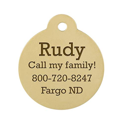 DogIDs Personalized Round Circle Dog Identification Tag, Custom Laser Engraved Double Sided ID Tag with S-Hook and Split Ring - Brass, Large, 1 1/4 in