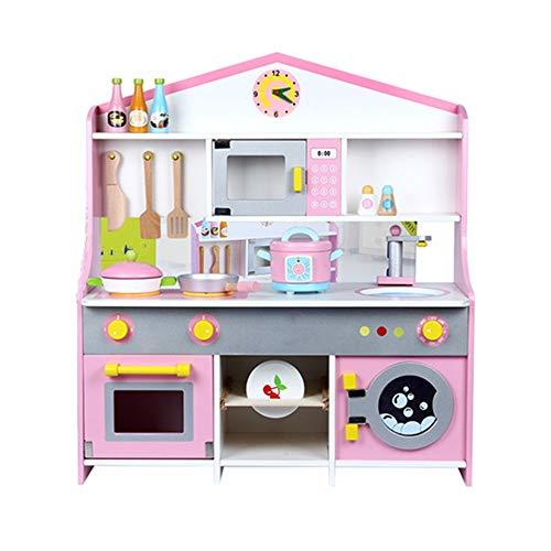 Zavddy Küche Spielset Kinderspielzeug Girls Puzzle Holzspielhaus Kochen Simulation Küche Spielzeug-Set Holzherd Mini-Küche Kinder-Spielküche (Farbe : Pink, Size : 72x62x23cm)