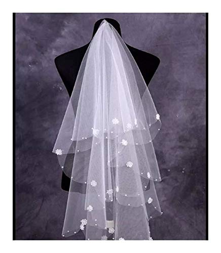 Bridal Wedding Veils Tulle One-Tier Fingertip Bridal Veils with Pearl Flower Wedding Bride Veil Gorgeous Bridal Tulle (Color : Ivory)