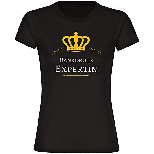 Damen T-Shirt Bankdrück Expertin - schwarz - Größe S bis 2XL, Größe:XXL