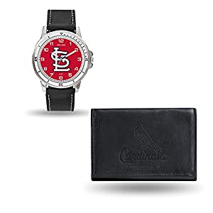 Set includes watch and leather wallet Embossed genuine cowhide leather Stainless steel case back watch 3 ATM Shock resistant/water resistant Officially licensed team logos and colors