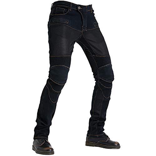 TZTED Herren Motorradhose Motorrad Hose mit Protektoren Motorradhose, Motorradhose mit Oberschenkeltaschen,Schwarz,L