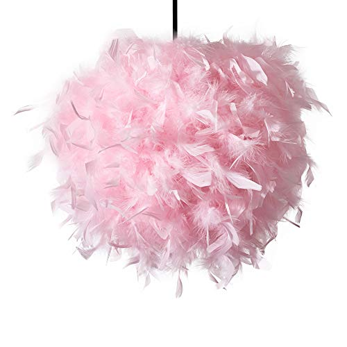 INNOTECK - Lámpara de techo hecha a mano, diseño de plumas, color rosa Lámpara decorativa de estilo contemporáneo, para sala de estar, dormitorio y habitación de bebé, color natural