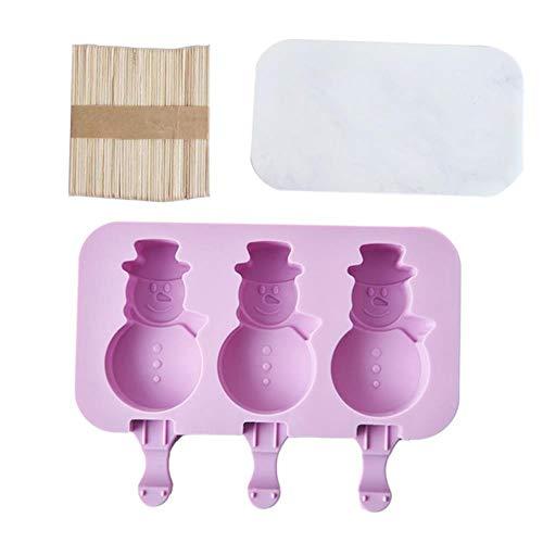 CTOBB Silikon-Eiscreme-Form wiederverwendbares Eiswürfel-Behälter Freeze-EIS am Stiel Form-EIS-Würfel-Hersteller-DIY Eiscreme-Form-Werkzeug mit 50 Holz-Sticks, C