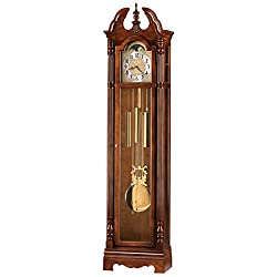 Howard Miller Klinman Floor Clock 547-027 – Windsor Cherry Vertical Grandfather Home Decor with Chain-Driven Single-Chime Movement