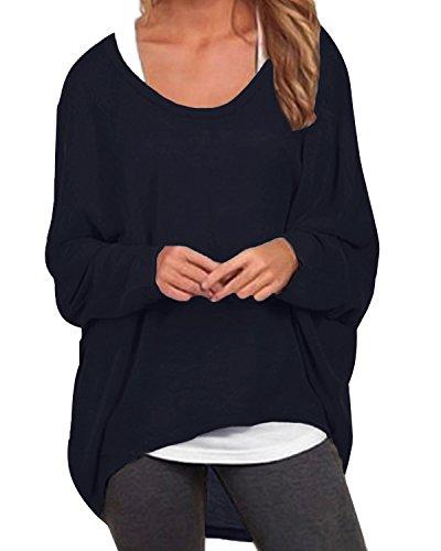 ZANZEA Damen Lose Asymmetrisch Jumper Sweatshirt Pullover Bluse Oberteile Oversize Tops Y-Marine EU 42-44/Etikettgröße L