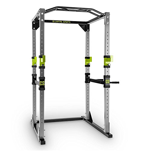 Capital Sports Tremendour Power Rack Käfig - Power Cage, Kraftstation, 2 x Safety Spotter: 20-stufig, 4 x J-Hooks, Multigripp-Klimmzugstange, aufsteckbare Dipstangen, Stahl-Rahmen, Silber