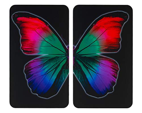 WENKO Glasabdeckplatte Universal Butterfly by Night 2er Set Herdabdeckung