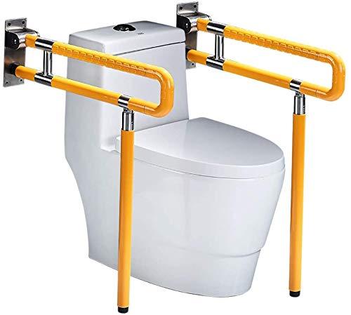 RANZIX klappbare WC Aufstehhilfe - Stützgriff Sicherheits Haltegriff Stützklappgriff behindertengerecht Toiletten Stütz-Haltegriff hochklappbar robust & solide verarbeitet (Gelb, 750MM)