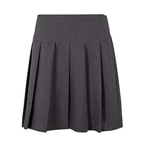Deluxe Beddings Girls Ladies Women School All Round Pleated Skirt with Zip Drop Waist Girls UK & Women UK Sizes (Girls 15-16 Years, Grey)