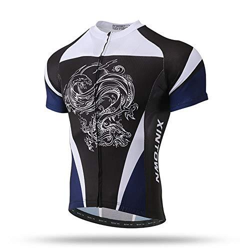Unkoo Ciclismo Jersey Full Zip Moisture Wicking Pro Team Camisa de moto Chaqueta de manga corta Camiseta Mountain Pro MTB Bicycle Sleeve Hombre Half Top Cycle Racing Team Calidad Biking Maillot Dragon