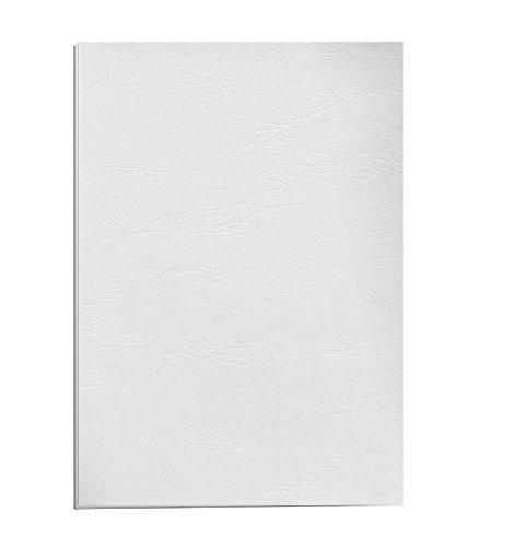 Fellowes Portadas para encuadernar de cartón símil piel Delta Cuero, extra rígido, 250 micras, 100% reciclables, formato A4, con certificación FSC, pack de 25, color blanco