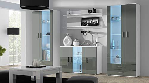 Wohnwand SOHO 10 mit Blauer LED Beleuchtung, Anbauwand, Wohnzimmerschrank, Schrankwand, Vitrine, Lowboard, Hängeregal (Weiß/Grau Hochglanz)