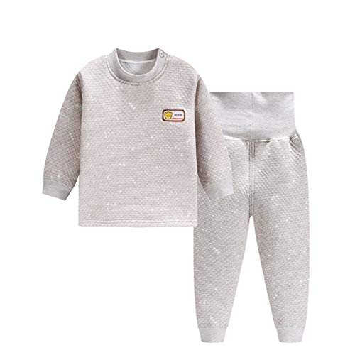 ALLAIBB ALLAIBB Winter-Winter-Pyjama-Sets für Kleinkinder aus Baumwolle, gepolsterte Top-Hosen Size 90 (Retro grün)