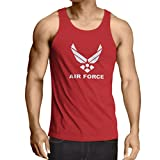 lepni.me Camisetas de Tirantes para Hombre United States Air Force (USAF) - U. S. Army, USA Armed Forces (XX-Large Rojo Blanco)