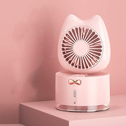 Slefpt Luftbefeuchter Kleiner Ventilator USB aufladbare Kleiner Schlaf Schüler Mini elektrischer Ventilator-beweglichen Mute-Desktop Portable Office Desktop-Befeuchter Fan Folding (Color : Rosa)