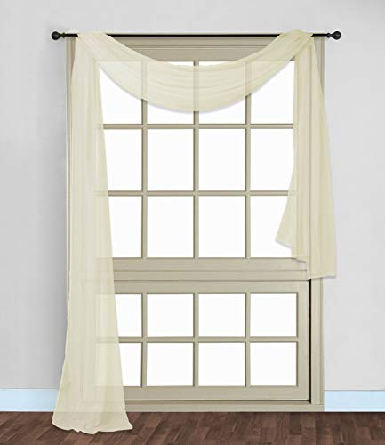 """Gorgeous Home 1 PC Solid Beige Scarf Valance Soft Sheer Voile Window Panel Curtain 216"""" Long Topper Swag"""