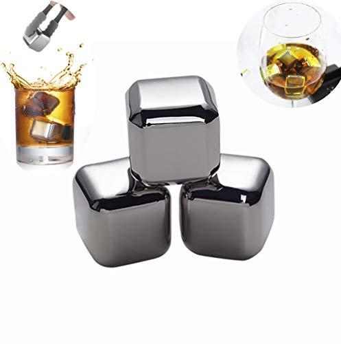 CMM Eiswürfel Aus Edelstahl, Whisky Stones Wiederverwendbare Gekühlte Getränkesteine, Die in Metalleiswürfeln Für Whisky- Wein- Gin- Und Tonic-Getränke Verwendet Werden