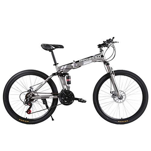 KALALY Bikes Adult Mountain BikesFolding Mountain Bike Variable Speed Bicycle 26 Inch Adult Men and Women BikeFolding Bicycles Steel Carbon