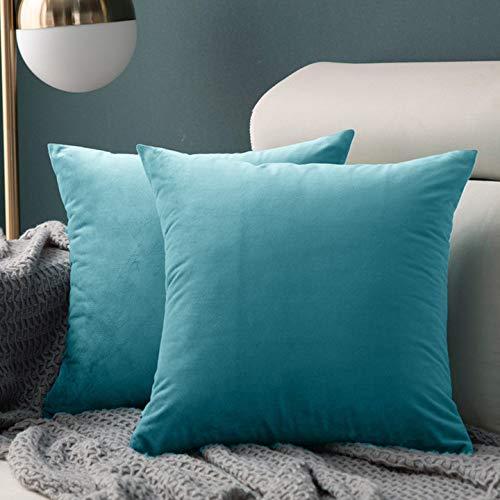 XunHe - Set di 2 federe quadrate in velluto, 45 x 45 cm, di lusso, lavabili, con cerniera invisibile, per divano, sedia, camera da letto, azzurro