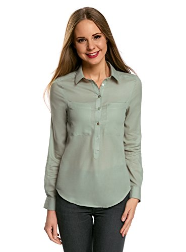 oodji Ultra Mujer Camisa Ancha de Algodón, Verde, ES 36 / XS