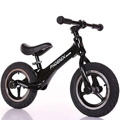 GASLIKE Bicicleta de Equilibrio para niños y niñas de 2 a 6 años, Bicicleta de Equilibrio de 12 Pulgadas, Altura Recomendada 85-125 cm, sillín Ajustable, Carga máxima 90 kg,Negro