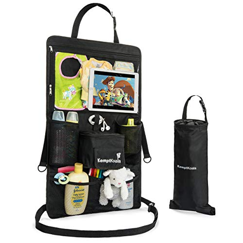 "KemptKoala Ultimate Car Backseat Organizer w/Touch Screen Friendly 17"" Tablet Pocket & Cup Holder..."
